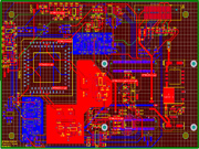 Close-up of printed circuit board schematic